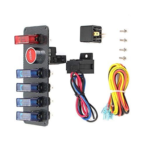 Ben-gi 12V 6 in 1 Racing-Auto-LED Toggle Ignition Panel-Power Engine Start Set Push Button Switch -