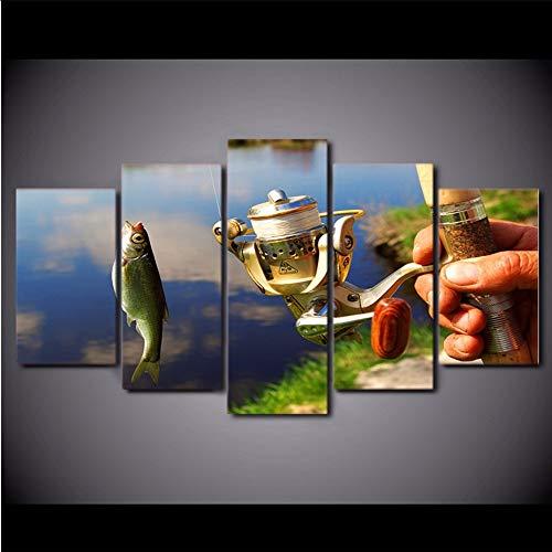 Wuwenw Lienzo Decoración Para El Hogar Marco De La Pintura Modular Caña De Pescar Fotos Hd Prints 5 Unidades Pesca Pescados Cartel Sala De Arte De La Pared2