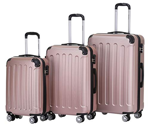 BEIBYE Hartschalen-Koffer Trolley Rollkoffer Reisekoffer Handgepäck 4 Rollen (M-L-XL-Set) (Rosa Gold, Set)