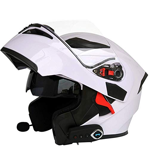Caschi moto modulari bluetooth + fm dot certification flip up touring caschi auricolare bluetooth dual-speaker integrato con microfono per risposta automatica m-l59cm ~ 60cm,white,xl