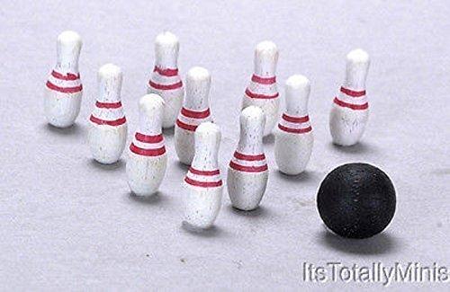 Melody Jane Puppenhaus Miniatur 1:12 Maßstab Spiele Spielzeug Zubehör Holz Skittles Bowling Set