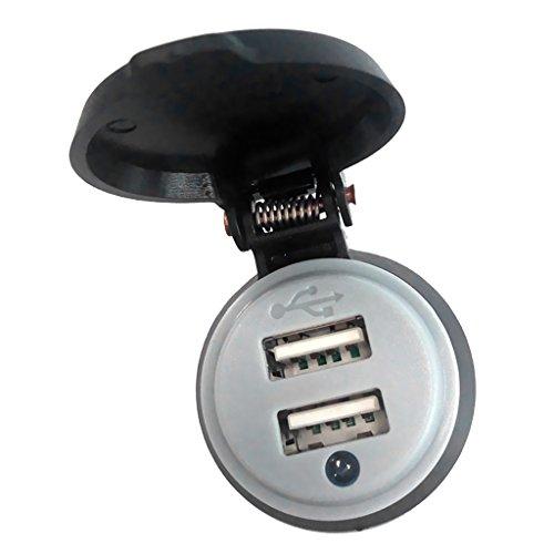 Sharplace 1x Motorrad Dual USB Anschlüsse Ladegerät Adapter mit LED Anzeige Blau Licht