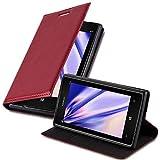 Cadorabo Custodia Libro per Nokia Lumia 925 in Rosso Mela - con Vani di Carte, Funzione Stand e Chiusura Magnetica - Portafoglio Cover Case Wallet Book Etui Protezione