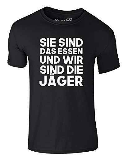 Brand88 - We Are The Hunters, Erwachsene Gedrucktes T-Shirt Schwarz/Weiß
