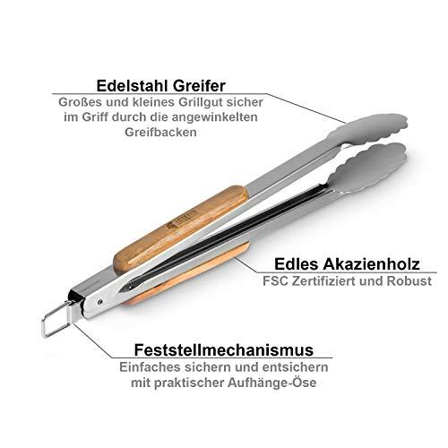 41Gf6Us2sUL - VENETUS-BBQ Grillbesteck extra lang aus edlem Akazienholz | Premium Grillzubehör 3 teilig: Grillzange, Grillwender und Grillpinsel | Ideales Grill-Geschenk für Männer