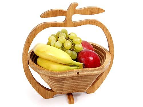 Alsino cestino | pieghevole | multiuso | 30 x 27 cm | con maniglia a forme di mela | in legno di bambù | portafrutta | salvaspazio, ok-09 mela
