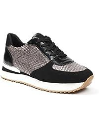 Ideal Shoes - Baskets bi-matière avec empiècements tressés Melisse