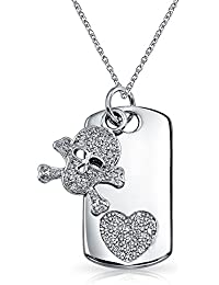 Bling Jewelry CZ Skull and Crossbones Heart Dog Tag Pendant Rhodium Plated Necklace 18 Inches