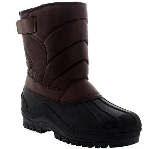 Polar Herren Dreck Nylon Strap Ente Schnee Winter Wohnung Regen IM Freien Stiefel - Braun - BRO42 AYC0148 (Schuhe Karibu)