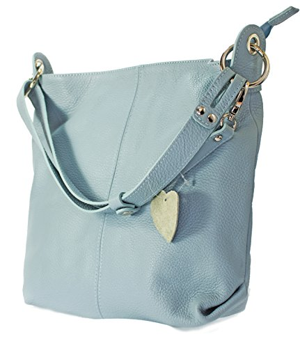 Borsa Da Donna In Vera Pelle Italiana Borsa A Spalla Shopper (verde) Azzurro