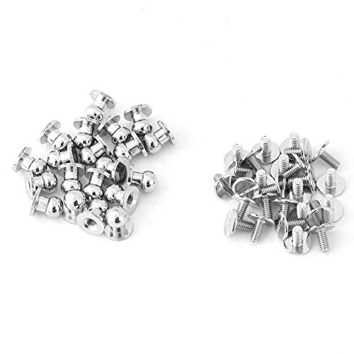 20 Pcs Copper Round Nails, Rivet Buckle, Brass Button Nails, DIY Leather Accessories, Silver 8 * 6 mm
