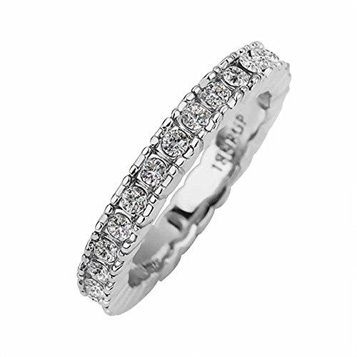 Mes-Bijoux-Bracelets Bague Anneau Simple Cristal Plaqué Platine 750 000  18ct Cadeau b0425f36296c