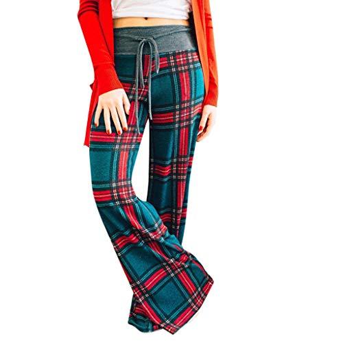 YWLINK Damen Mode Joggen Workout Sporthosen Retro Karierte Drucken Hose Freizeit Weite Beine Yoga Hose(Grün,M)