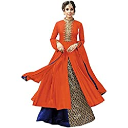 Active Women's Cotton Fabric Embroidery Indo Western Suit (Orange_Blue)