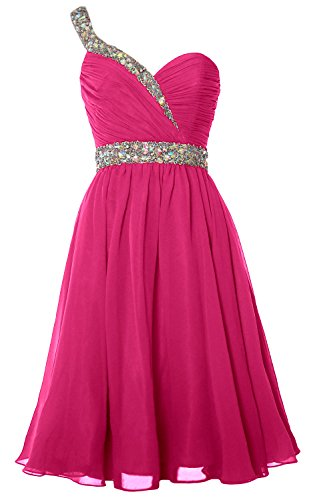 MACloth Gorgeous One Shoulder Short Prom Homecoming Dress Formal Party Gown Fuchsia