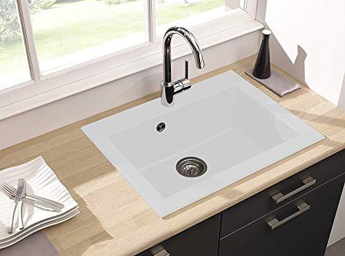 respekta Spüle Küchenspüle Einbauspüle Granit Spülbecken Mineralite 66 x 50 weiß