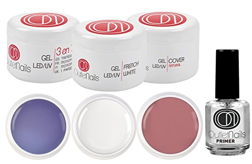 Set con 3 gel UV/Led da 15 ml e 1 primer da 15 ml, 1 gel UV 3 in 1 trifasico, 1 gel UV French White, 1 gel UV Cover Natural, 1 primer