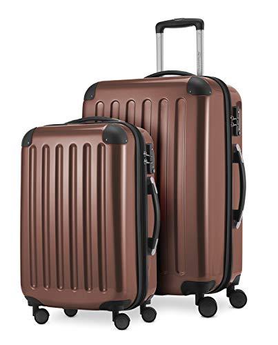 HAUPTSTADTKOFFER® · Set de 2 Valises à coque dure · Valise cabine de 45 litres + Valise de 87 litres · Serrure TSA (Marron)