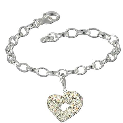 SilberDream Charms Kette Set - Herz weiß - Swarovski Kristalle 925 Sterling Silber Charm Armband - FCA138