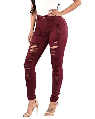 Damen Leggings Cropped Jeans Stretch Skinny Löcher Zerrissen Hosen mit Hohem Bund Weinrot M (Cropped-stretch-leggings)