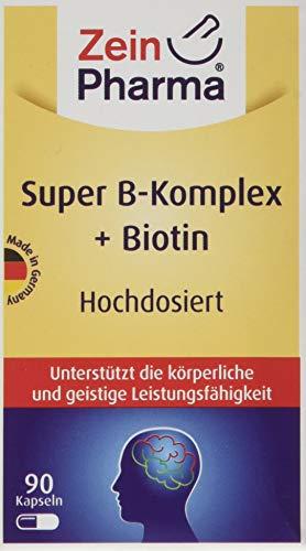 ZeinPharma Super Vitamin B-Komplex 90 Kapseln (3 Monate Vorrat) doppelte Stärke B-Vitamine wie Folsäure, Niacin, Biotin, B6 u.v.m, 47 g - Faktoren, 90 Kapseln