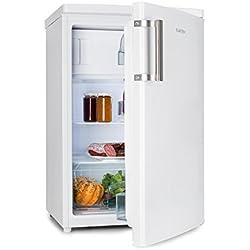 Klarstein CoolZone 120 Eco • Combi réfrigérateur-congélateur • Capacité 105 litres • Congélateur 15 litres • Thermostat • 88 cm de haut • 80 Watt • 3 compartiments avec porte • Bac à légumes • blanc