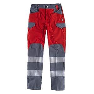 WorkTeam Pantalón Multibolsillos Combinado de Alta Visibilidad, con Cintas Reflectantes Discontinuas y Cintas Decorativas Personalizadas, Trabajo. Unisex