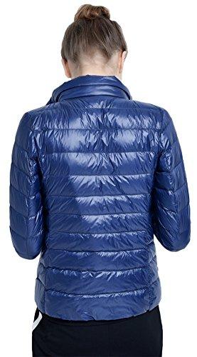 Salamaya Damen Daunenjacken Klassische Packbar Ultra Leicht Gewicht Daunenmantel Verpackbar Stehkragen Winter Kissen Mantel Marine