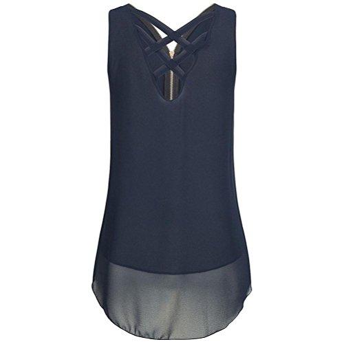 Sanfashion, tank top da donna, estivo, senza maniche, senza orlo, senza chiusura a lampo, con scollo a v blau small