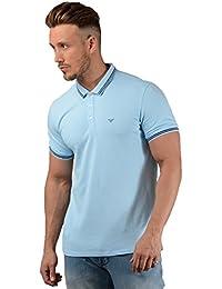 Armani Hombres Piqué de algodón de Doble Punta Polo Camisa Azul d596f58747e2a