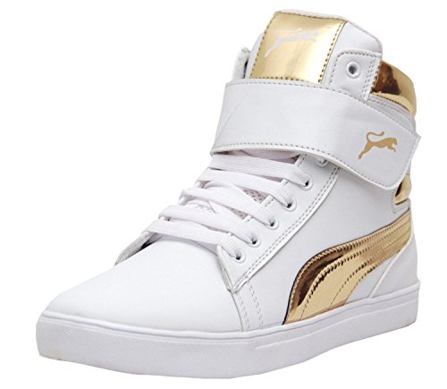 Rockfield Classic White-Gold Synthetic Leather Casual Shoes (6 UK)