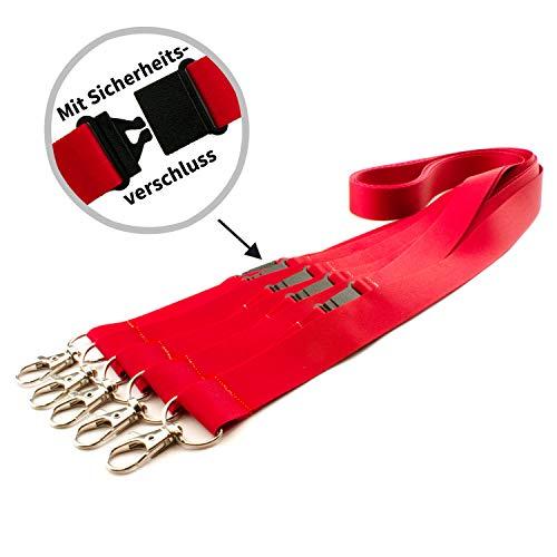 Schlüsselbänder - Lanyards - unifarben - sofort lieferbar im 5er Pack (rot, 20 mm Sicherheit)