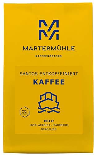 Martermühle   Kaffee Santos entkoffeiniert (500g)   Gemahlen   Premium Kaffeebohnen aus Brasilien   Schonend geröstet   Filterkaffee säurearm   100% Arabica