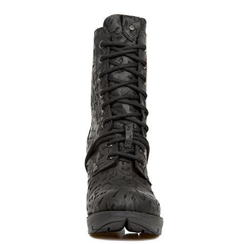 New Rock Schwarze Stiefel IM Vintage-Design mit SchnŸrung und Schwarzer High Block-Heel Aus der Trail Collection.