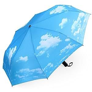 Plemo Regenschirm, Sonniger Himmel Automatik Taschenschirm (94 cm Durchmesser)