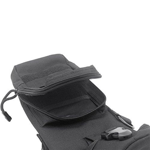 Vococal - Multifuncional Bolso de Cintura Bumbag / Mini Bolso del Mensajero para Herramienta Botella / Bolso del alpinismo / Bolsas de bicicleta Colgante para Actividades al aire libre Camping Escalada del Montar a Caballo Ejercicio Deporte,Negro