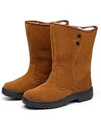 Adong Zapatos de Seguridad para Hombre Alta Ayuda Impermeable Wear Resistente al Tobillo Botas de Trabajo