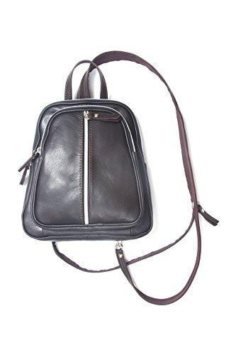 In vera pelle zaino, alla moda e di alta qualità, prodotto in Italia, nero (nero), 26x23x5cm