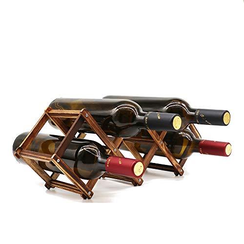 PrettyWit Weinregal aus Holz, klein, Weinflaschenständer, freistehend, zusammenklappbar, Holzregal, Tisch-Organizer - kohlensäureiertes Holz, 5 Schlitze
