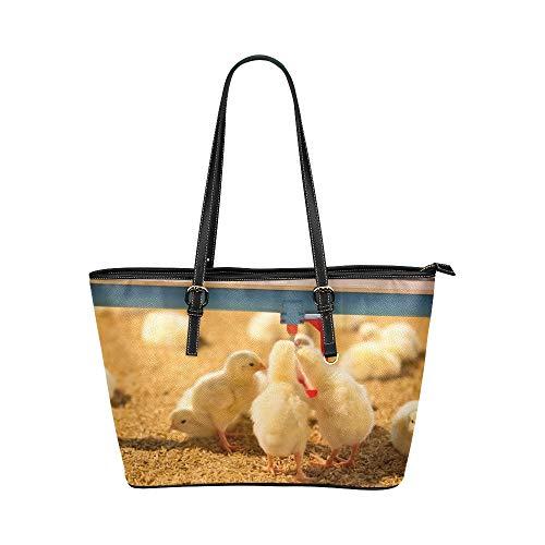 Plsdx Schöne Kleine Huhn Große Leder Tragbare Top Hand Totes Taschen Kausalen Handtaschen Reißverschluss Schulter Einkaufstasche Geldbörse Organizer Für Dame Mädchen Frauen -