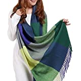 Ziory Blue & Green 190cm*60cm Winter Neck Scarf Warm Soft Scarves Plaid Tassels Shawl Stole for Girls and Women