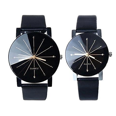 Kfnire 1Pair Men and Women Synthetic Leather Round Case Quartz Analog Couple Watch Black