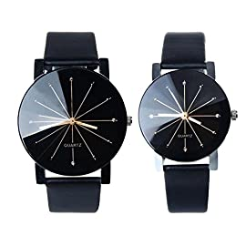Kfnire 1Pair Men and Women Synthetic Leather Round Case Quartz Analog Couple Watch Black