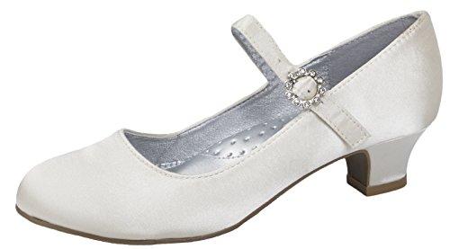 Mädchen-Pumps, Mary Jane, Partyschuhe mit Glitzer und Diamanten, für Brautjungfern, niedriger Absatz, - Ivory - Satin - Größe: 34 EU