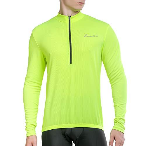 Przewalski Herren Fahrradtrikot, Outdoor Männer Langarm Radtrikot Jersey/Fahrradbekleidung,Schnell Rocknend Fahrradkleidung Für Rennrad,Radsport, Gelb,XL