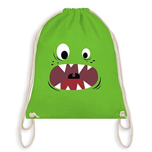 & Fasching - Monster Gesicht Kostüm 3 - Unisize - Hellgrün - WM110 - Turnbeutel I Gym Bag (Reißzähne Kostüme)