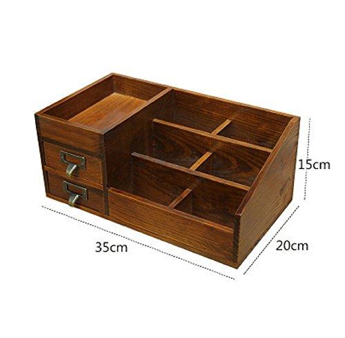 QYL Solide Holz Kosmetikkoffer Desktop Organizer Bürobedarf Aufbewahrungsbox Regal Rack Wandbehang,Brown,C -