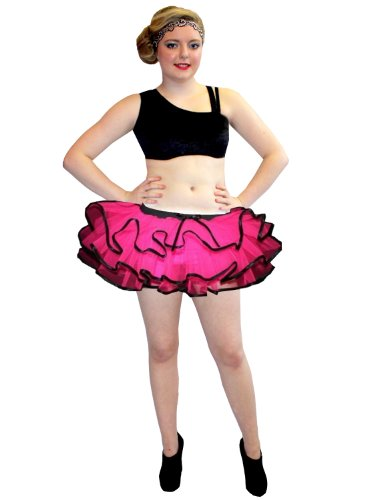 Insanity Neon UV Hot Pink & Schwarz Bustle Frill Lilly Trim Tutu. (Plus Size (16 to 22).) (Tutus Size Plus)