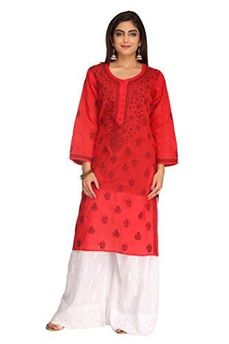 ADA Hand Embroidered Lucknowi Chikankari Regular Fit Cotton Kurti (A238283_Red)