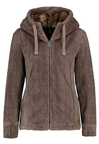 Sublevel Damen Fleece-Jacke mit Kunstfell & Teddy-Fleece Brown M